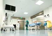 Hospital corridor patient trolley — Stock Photo