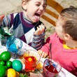 Kids fun Easter eggs — Stock Photo