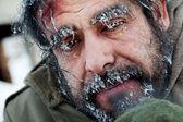 Homeless winter frozen face — Stock Photo