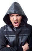 Angry gangster hood screaming — Stock Photo