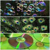 Soap bubbles, peacock feathers, CDs — Stock Photo