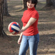 Beautiful girl with a volleyball ball — Stock Photo