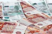 Viele russische Papiergeld — Stockfoto