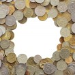 Frame made from coins — Stock Photo