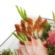 Set of Sashimi on Daikon with Seaweed, Cucumber — Stock Photo