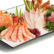 Set of Sashimi on Daikon with Seaweed, Cucumber - Stok fotoğraf
