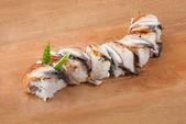 木の板にうなぎ寿司日本 — ストック写真