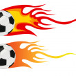 Vector soccer ball with flames — Stock Photo