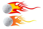 Golf ball with flames — Stock Photo