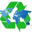 World map and recycling symbol — Stock Photo