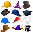 Various hats illustration clipart icons — Stock Photo #8910268