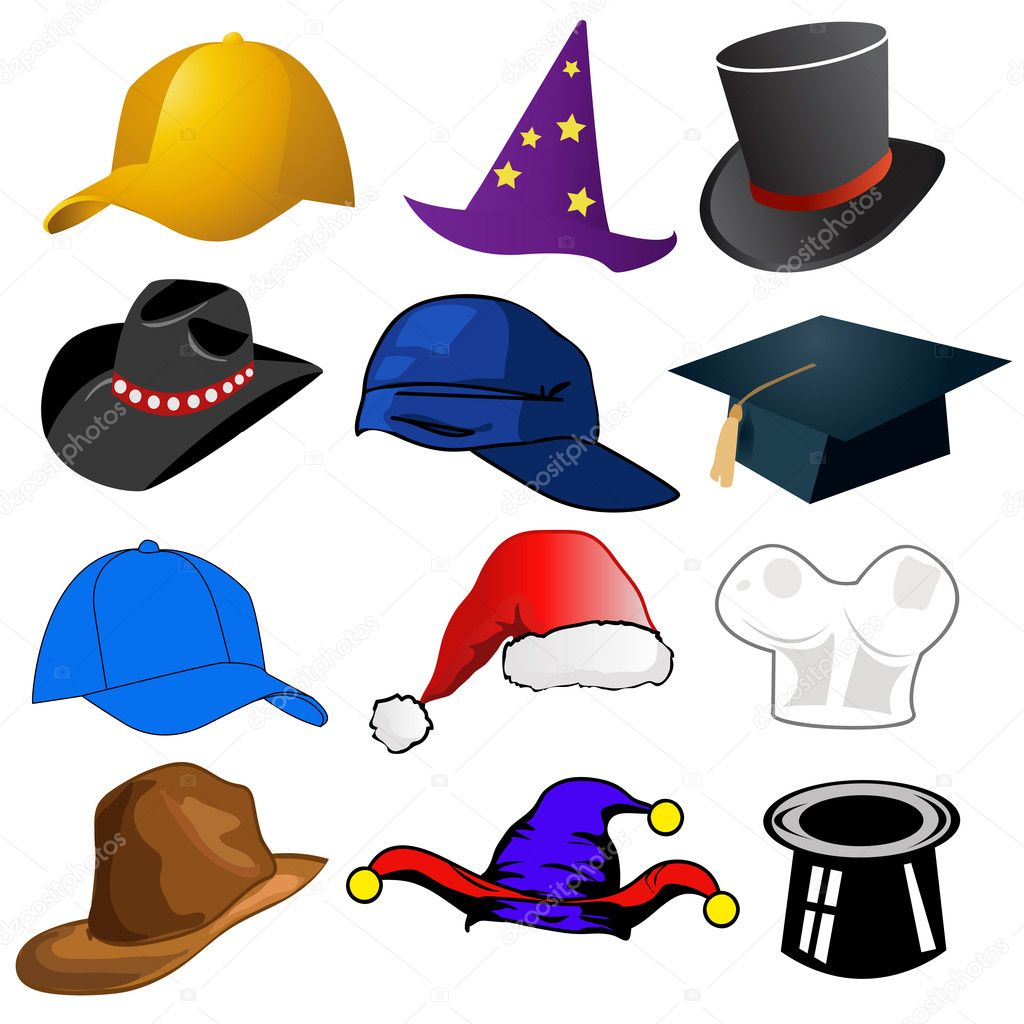 Various hats illustration clipart icons - Stock Image