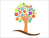 árbol colorido con flores vector illustration — Foto de Stock