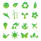 Set of green environmental vector icons — Stock Photo