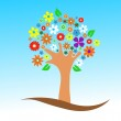 Colorful tree with flowers vector illustration — Stock Photo #9971989