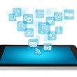 Tablet PC with application icons — Stock Photo #10487395