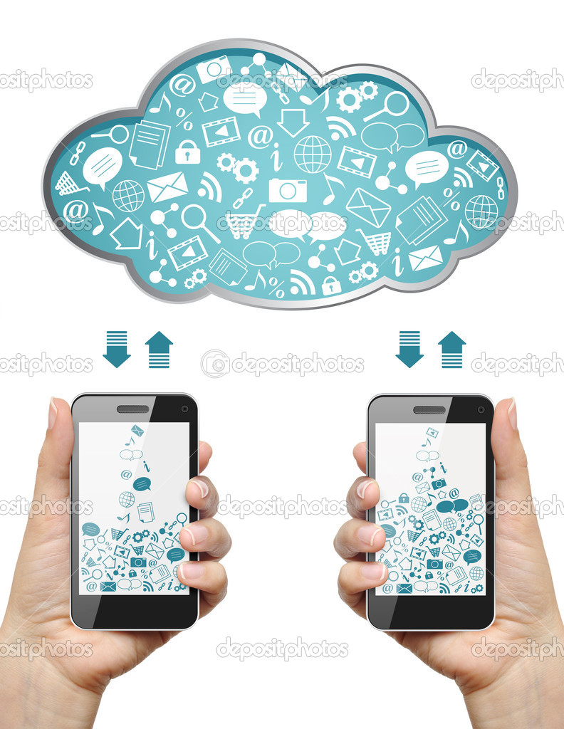 Mobile phones in female hands download information from cloud isolated on white. Cloud computing concept. — Stock Photo #10729786