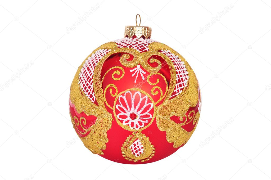 Red christmas ball with golden pattern isolated on the background  Stock Photo #8049915