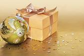 Golden gift box — Stock Photo