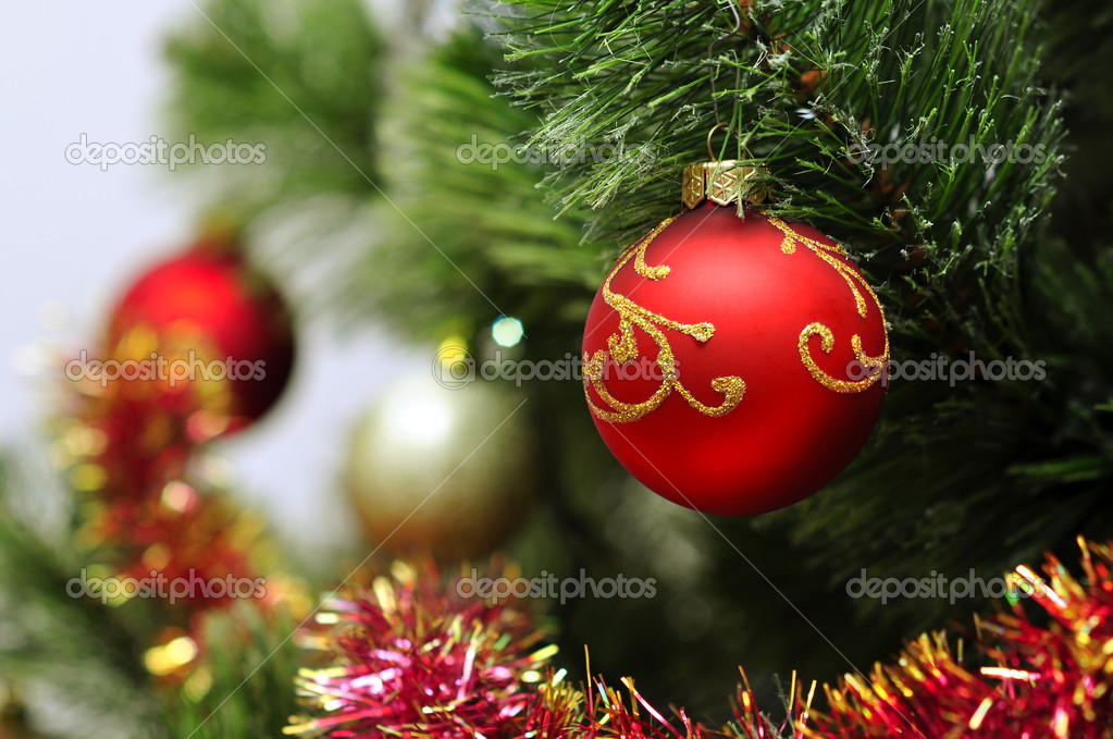 Colorful christmas decoration hanging on christmas tree — Stock Photo #8525485