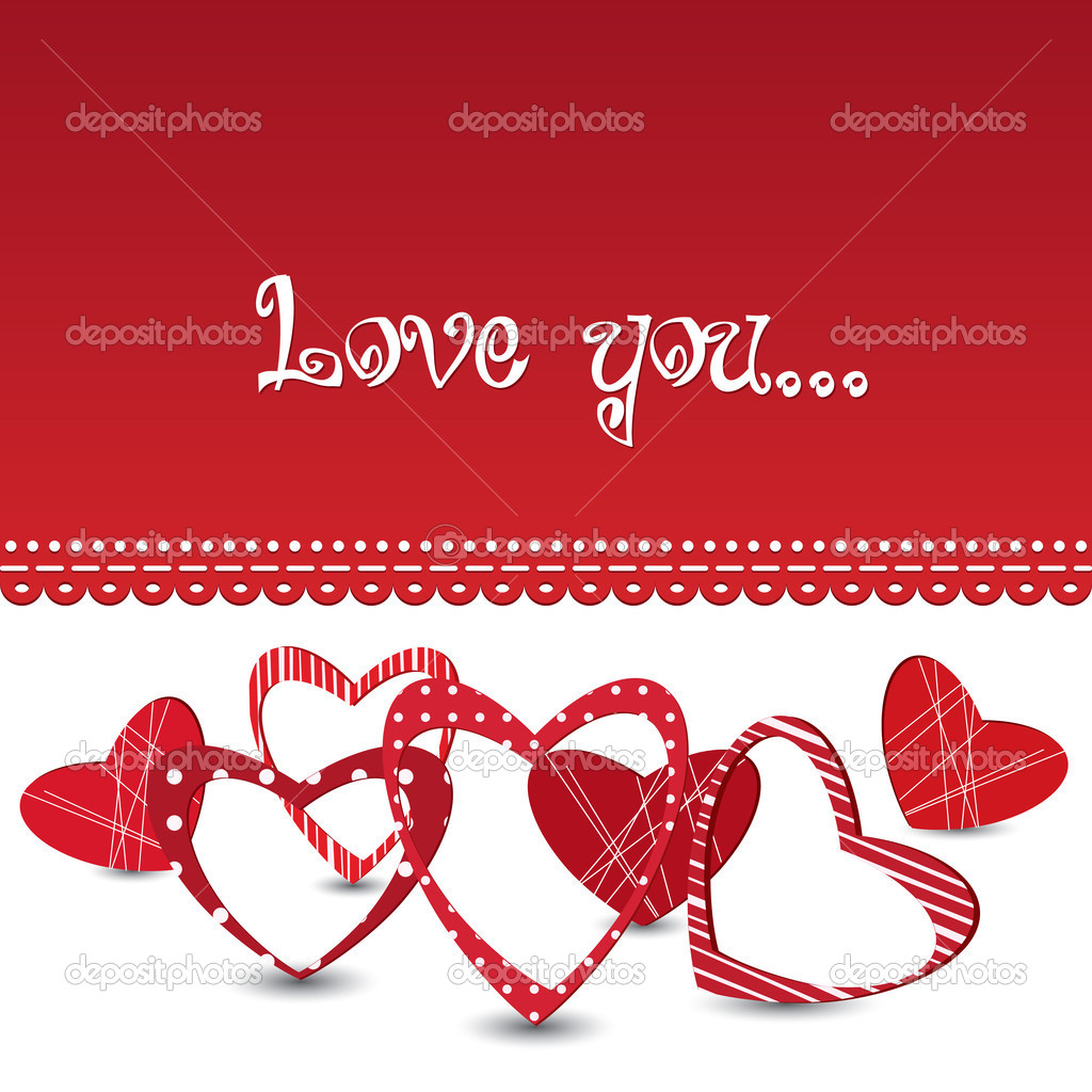 Red vector valentine's day card with different hearts  Stock Vector #8527907