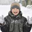 Kid in winter clothes — Stockfoto