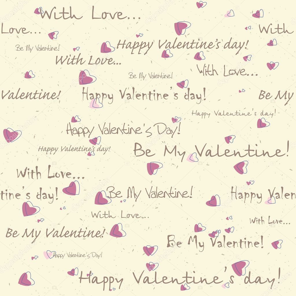 Valentine's day seamless pattern with text and hearts — Stock Vector #8831876