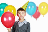 Boy in birthday hat — Stock Photo