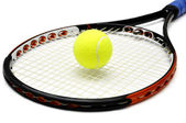 Tennis racket and bal — Stock Photo