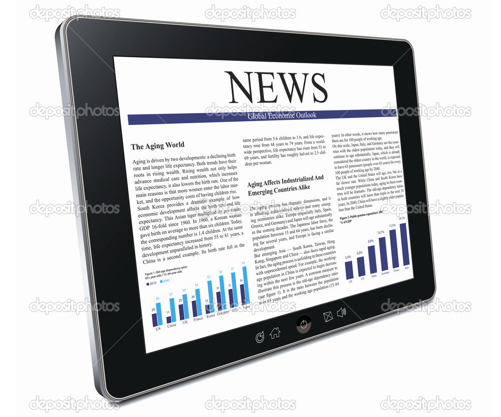 Touch screen tablet pc with business article over white background  Stock Photo #9160159