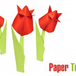 Origami red tulips — Stock Photo