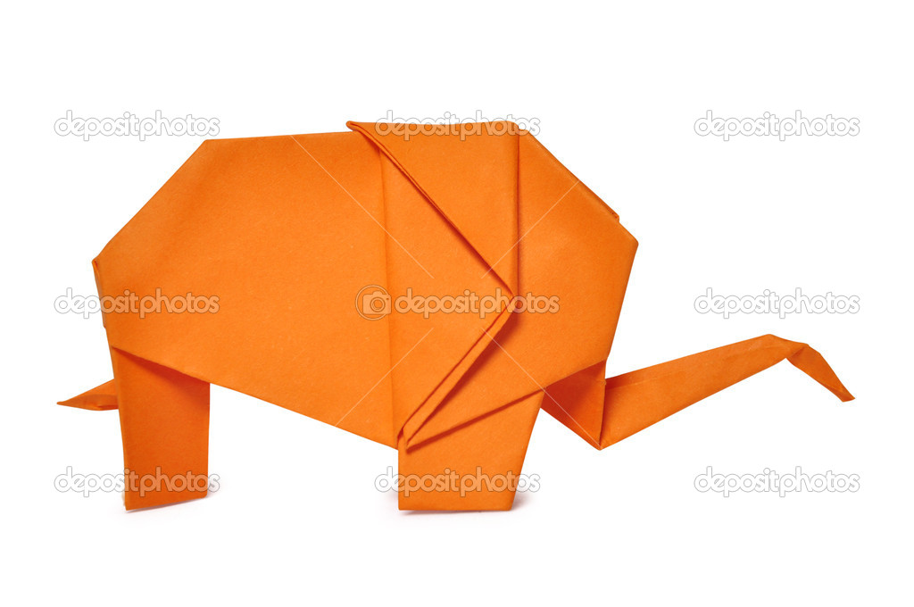 Origami elephant from orange paper isolated on white — Stock Photo #9459532