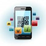 código QR na tela do smartphone — Foto Stock