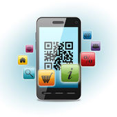 Código qr en la pantalla del teléfono inteligente — Foto de Stock