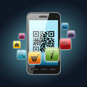 Qr code on smartphone screen — Stock Photo