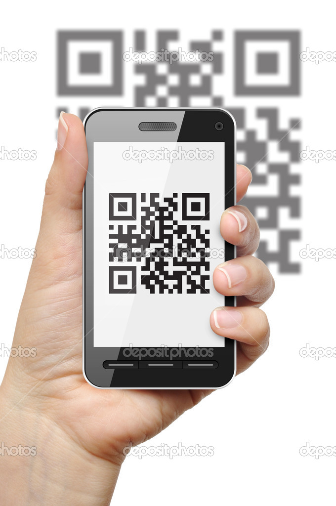Scanning QR code with mobile phone on white background — Stock Photo #9817315