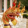 Figures of golden Naga (Dragon) in Chalong temple, Phuket, Thaila — Stock Photo