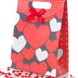 图库照片: Red gift bag, isolated