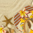 Sandals, seashells, starfish and frangipani on sand — Stock fotografie