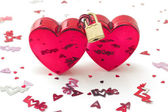 Wedlocked, two hearts locked, with small decorations, isolated — Stock Photo