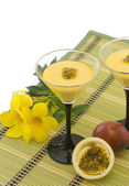 Passion fruit mousse — Stock Photo