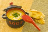čerstvé domácí dýně polévku, s opečeným toastovým chlebem — Stock fotografie