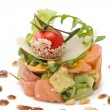 Avocado and salmon salad, isolated - Foto Stock