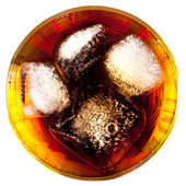 Coca with ice in a glass — Stock Photo