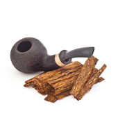 Smoke pipe with tobacco on a white background — Stock Photo