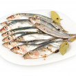 Sprat salt and spices on a plate - Stock Photo