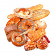 Rolls, muffins, pastries, lots of rolls, baguettes, bagels, buns, puffs — Stock Photo #8846103