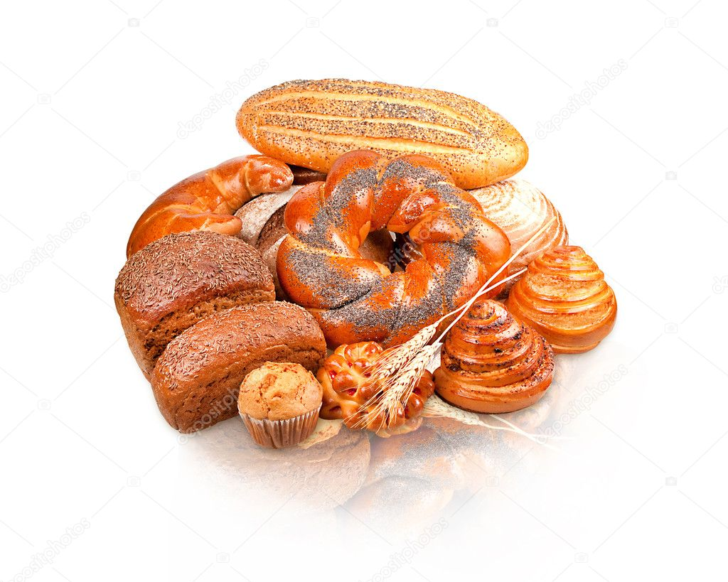 Rolls, muffins, pastries, lots of rolls, baguettes, bagels, buns, puffs  Stock Photo #8846118