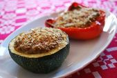 Stuffed peppers and zucchini — Stock Photo