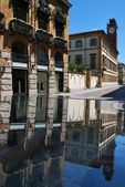 Reflection of ancient buildings, Novara — Stock Photo